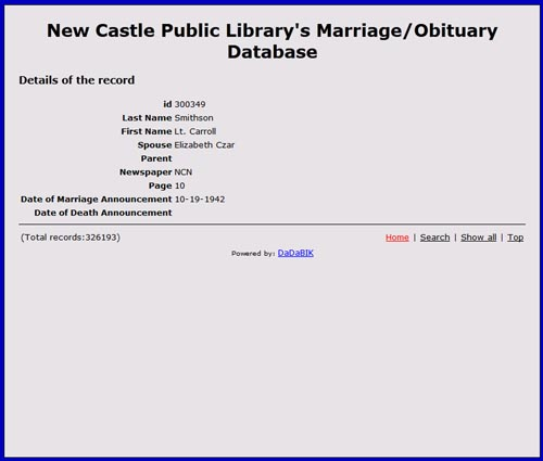New Castle Public Library's Marriage/Obituary Database
