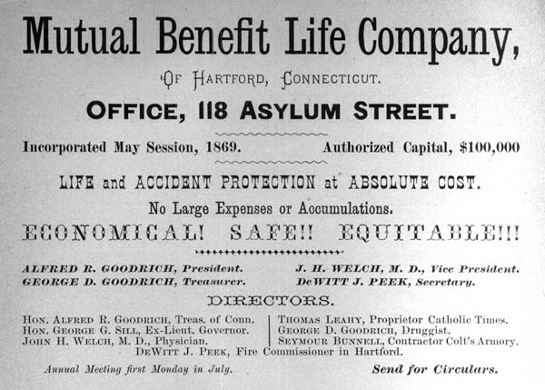 Advertisement for the Mutual Benefit Life Company of Hartford