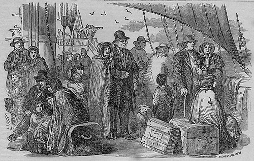 Engraving of people travelling by ship