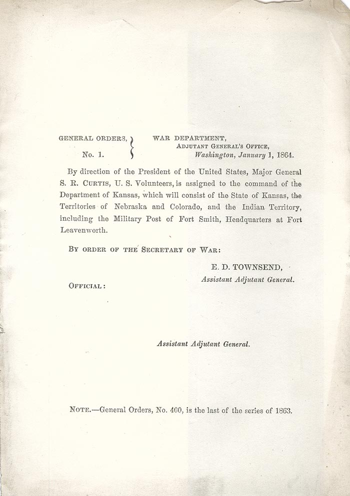 Image of 1864 General Orders No. 1
