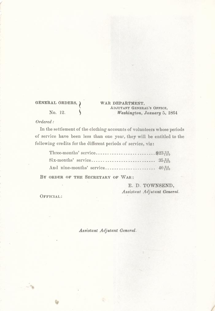 Image of 1864 General Orders No. 12