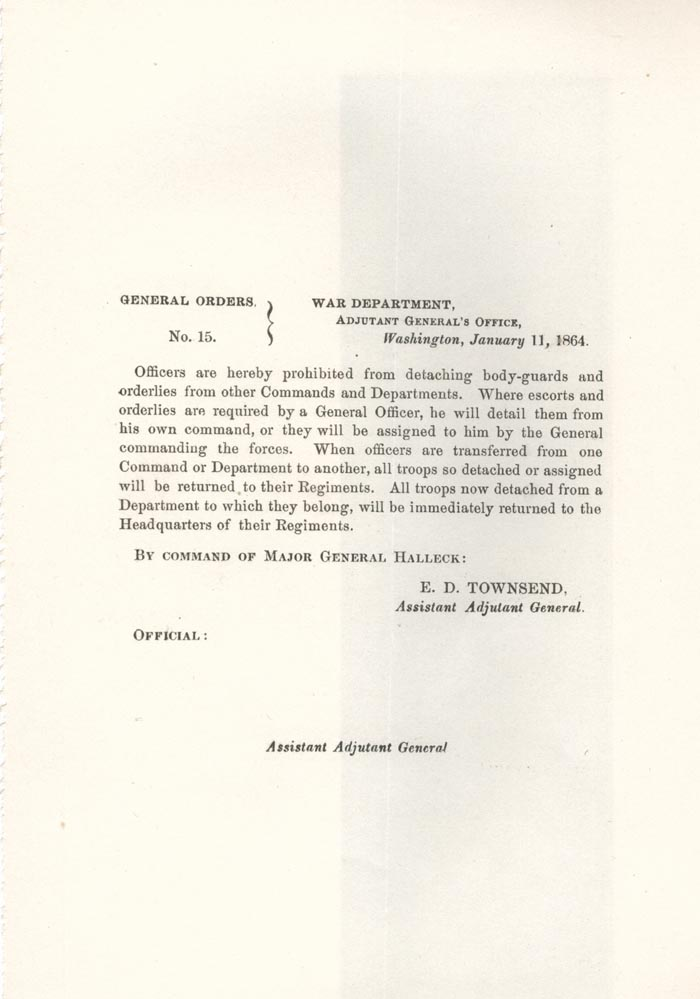 Image of 1864 General Orders No. 15