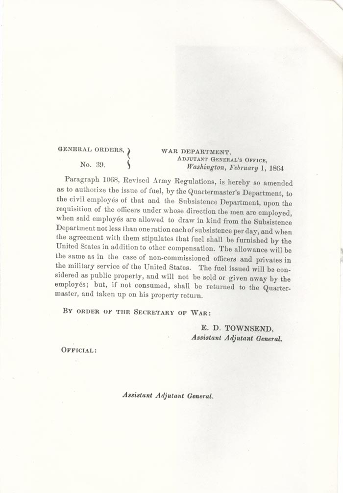 Image of 1864 General Orders No. 39