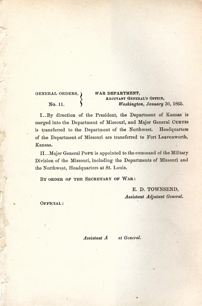 Image of 1865 General Orders No. 11