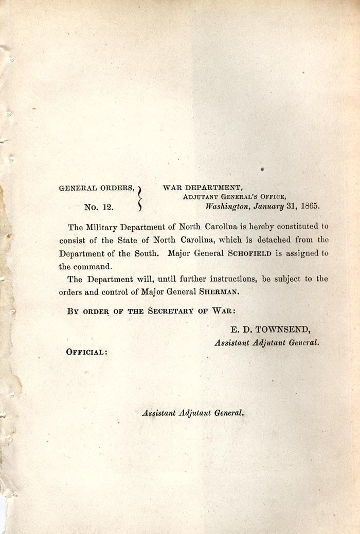 Image of 1865 General Orders No. 12