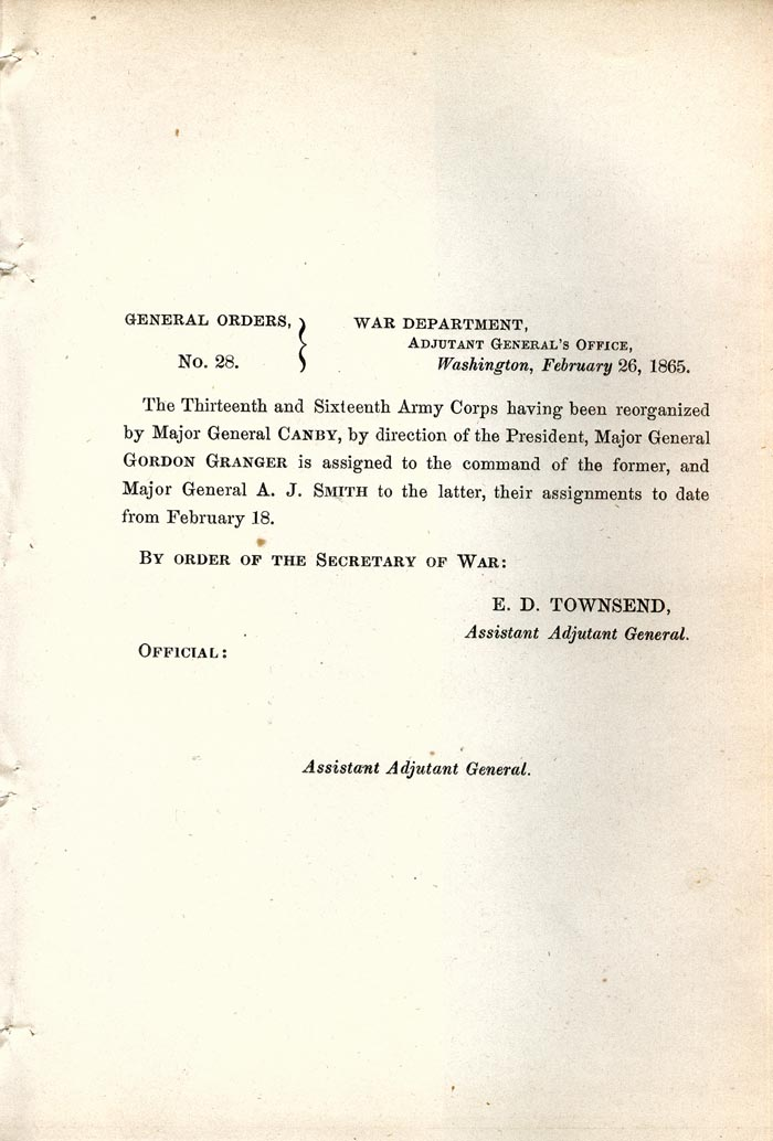 Image of 1865 General Orders No. 28