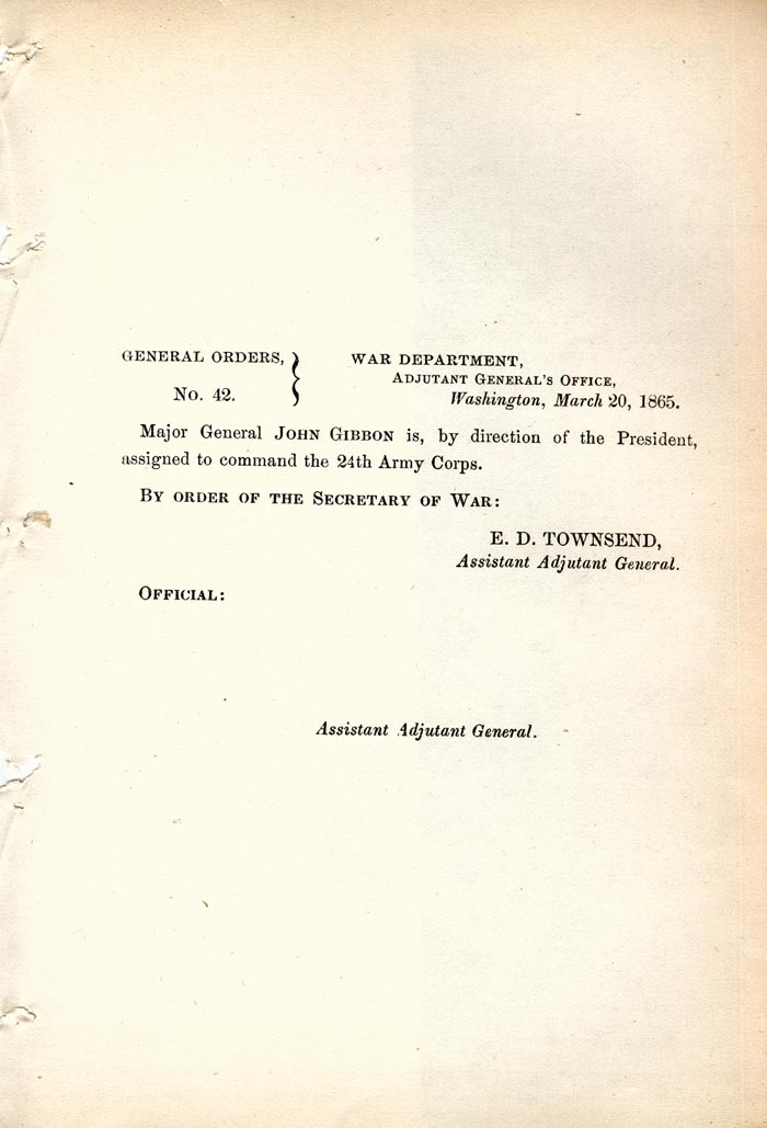 Image of 1865 General Orders No. 42