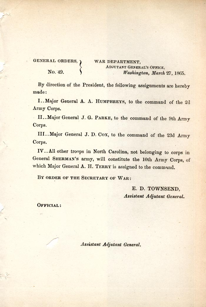 Image of 1865 General Orders No. 49