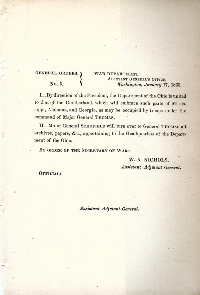 Image of 1865 General Orders No. 5