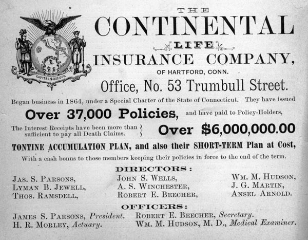 Advertisement for The Continental Life Insurance Company