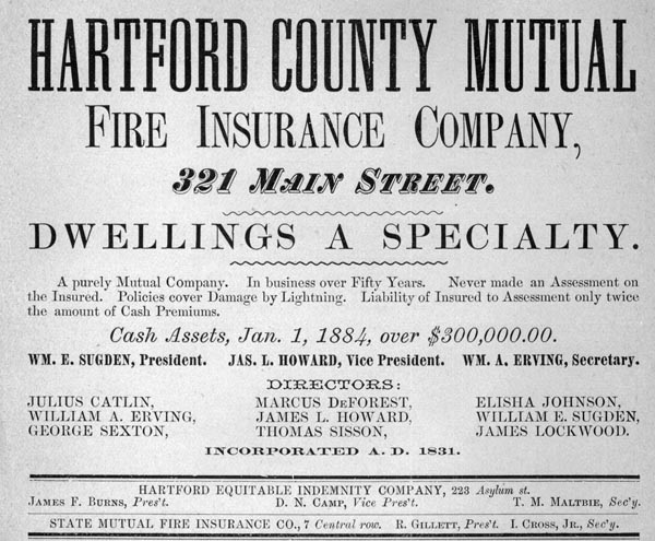 Advertisement for the Hartford County Mutual Fire Insurance Company