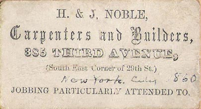 Image of H. and J. Noble Business Card