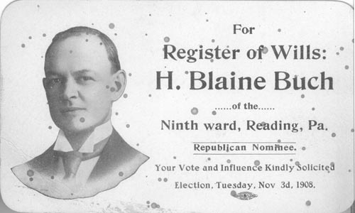 Image of Card with photo of H. Blaine Buch