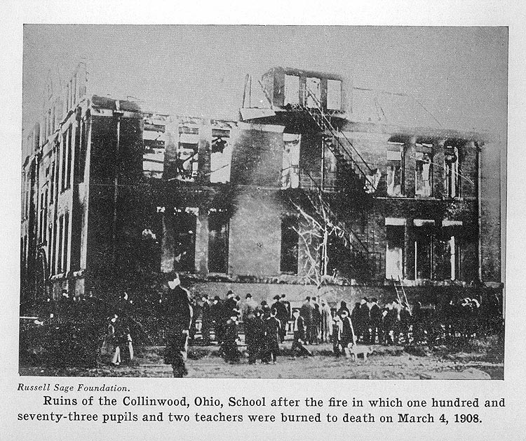 Ruins of the Collinwood, Ohio, School after the fire in which one hundred and seventy-three pupils and two teachers were burned to death on March 4, 1908.
