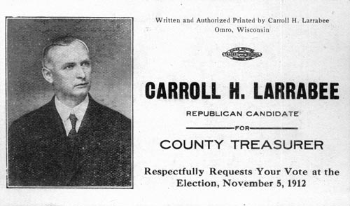Image of Card with photo of Carroll Larrabee