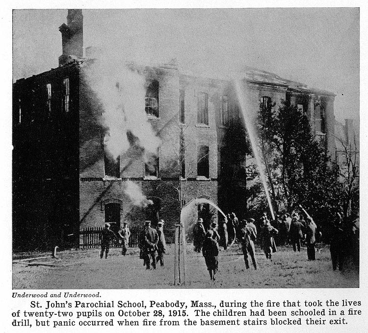 St. John's Parochial School, Peabody, Mass., during the fire that took the lives of twenty-two pupils on October 28, 1915. The children had been schooled in a fire drill, but panic occurred when fire from the basement stairs blocked their exit.