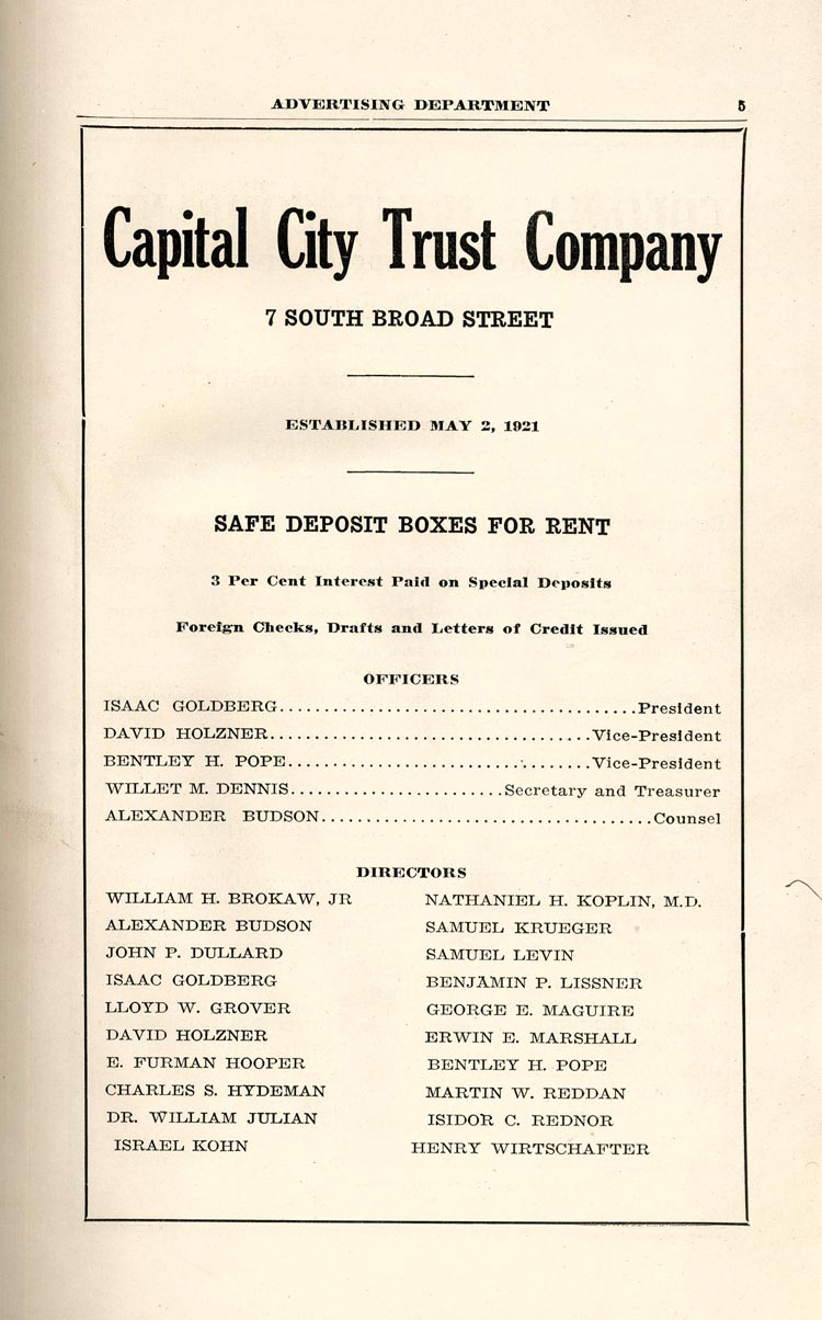 Advertisement for Capital City Trust Company