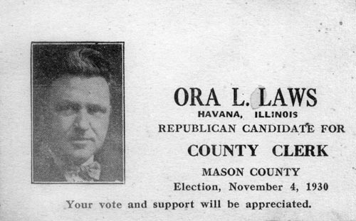 Image of Card with photo of Ora Laws in 1930