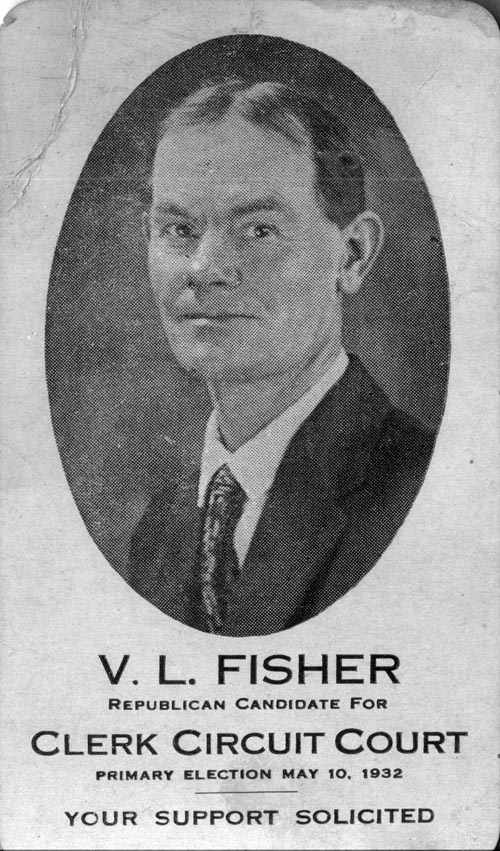 Image of Card with photo of V. L. Fisher