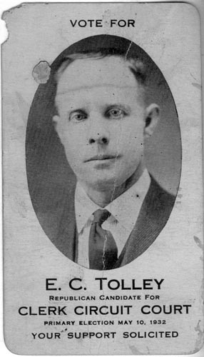 Image of Card with photo of E. C. Tolley