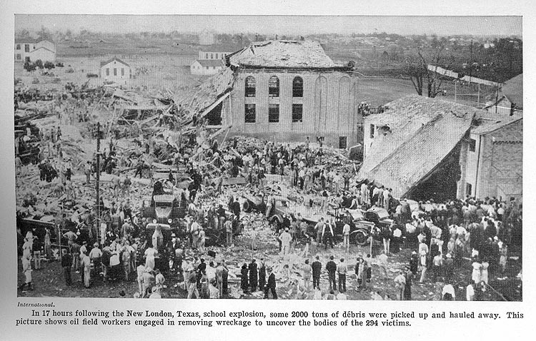 In 17 hours following the New London, Texas, school explosion, some 2000 tons of debris were picked up and hauled away.