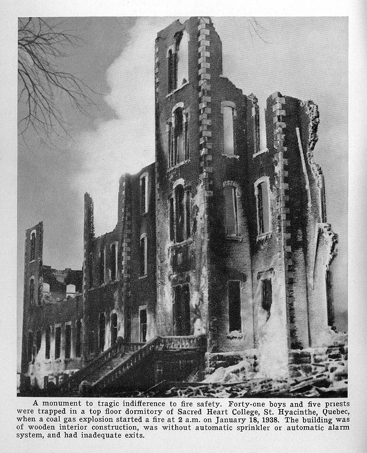 Forty-one boys and five priests were trapped in a top floor dormitory of Sacred Heart College, St. Hyacinthe, Quebec, when a coal gas explosion started a fire at 2 a.m. on January 18, 1938.