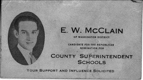Image of Card with photo of E. W. McClain