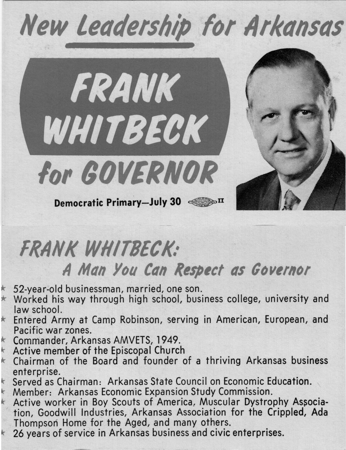 Image of Card with photo of Frank Whitbeck