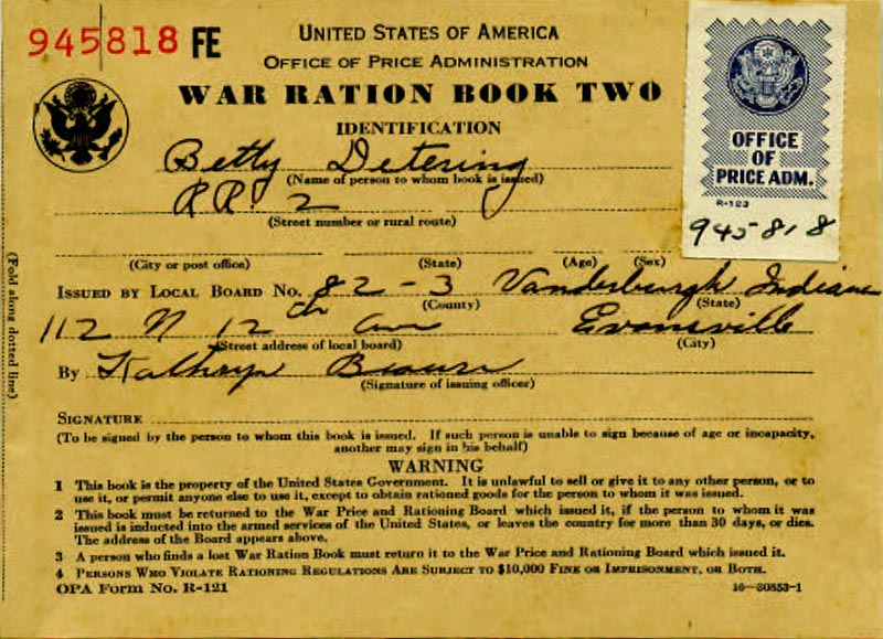 Image of Ration Book Two for Betty Detering