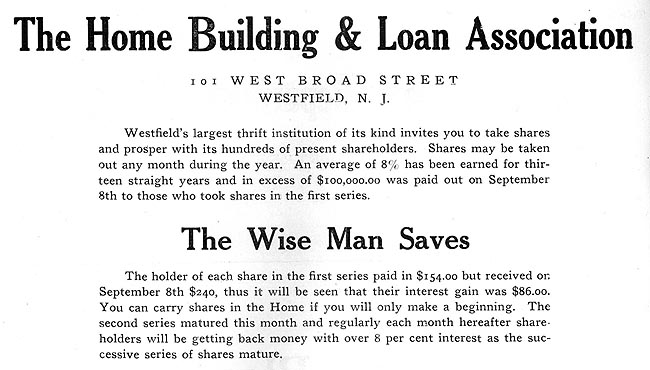 Home Building and Loan Association Advertisement